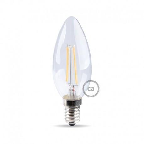 Lampadina led filamento candela bco E14 4W 470LM 300° 35*100mm