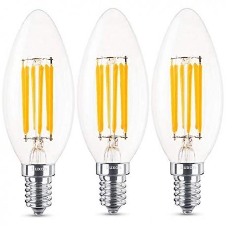 Kit 3pz lampadina  led filamento candela bco E14 4W 470LM 300° 35*100mm