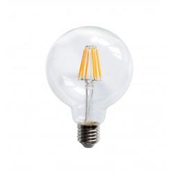 Lampadina LED E27 filamento G125 8W globo vetro trasparente 300°