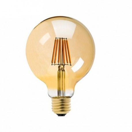 Lampadina led filamento ambra G95 E27 8W 725LM 300°