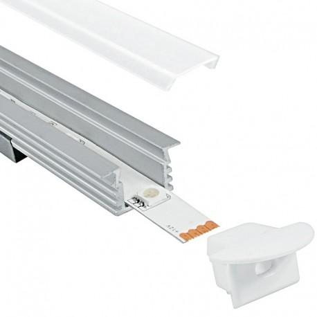 Profilo in alluminio incasso con copertura Matt Opaca - 2 Metri