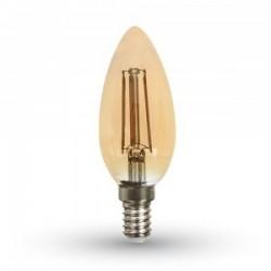 Lampadina led candela filamento ambra E14 4W 420LM 360°