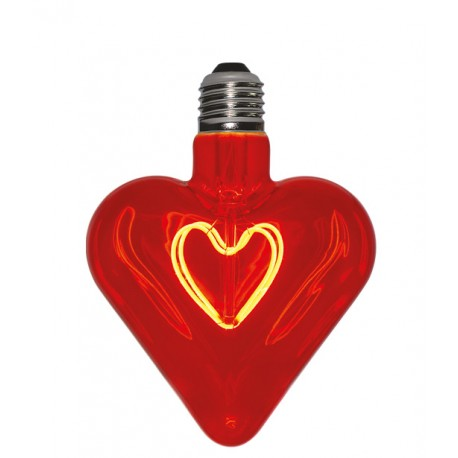 Lampadina Filament Curved Led Heart Red