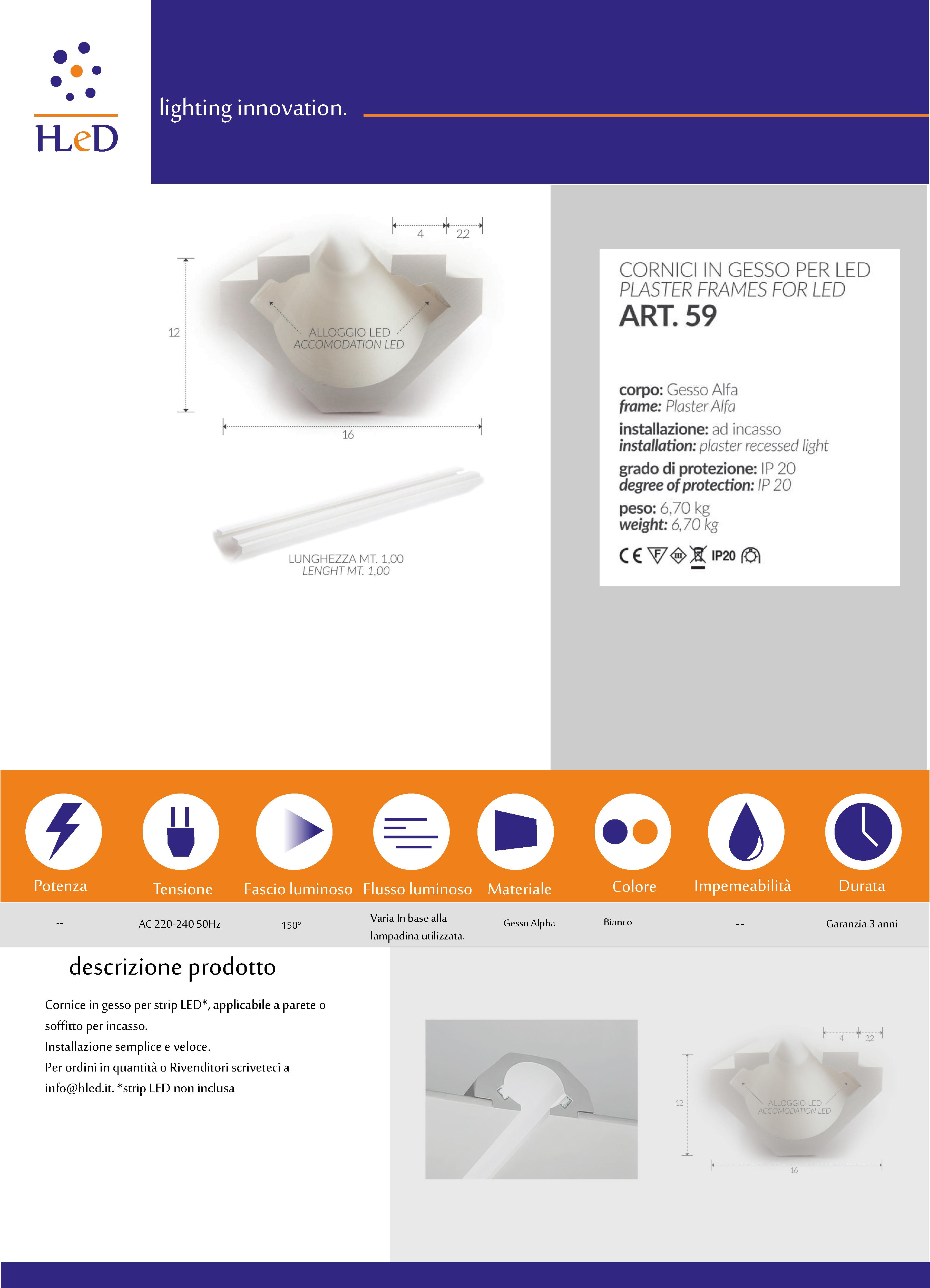 Cornice per profilo luminoso LED