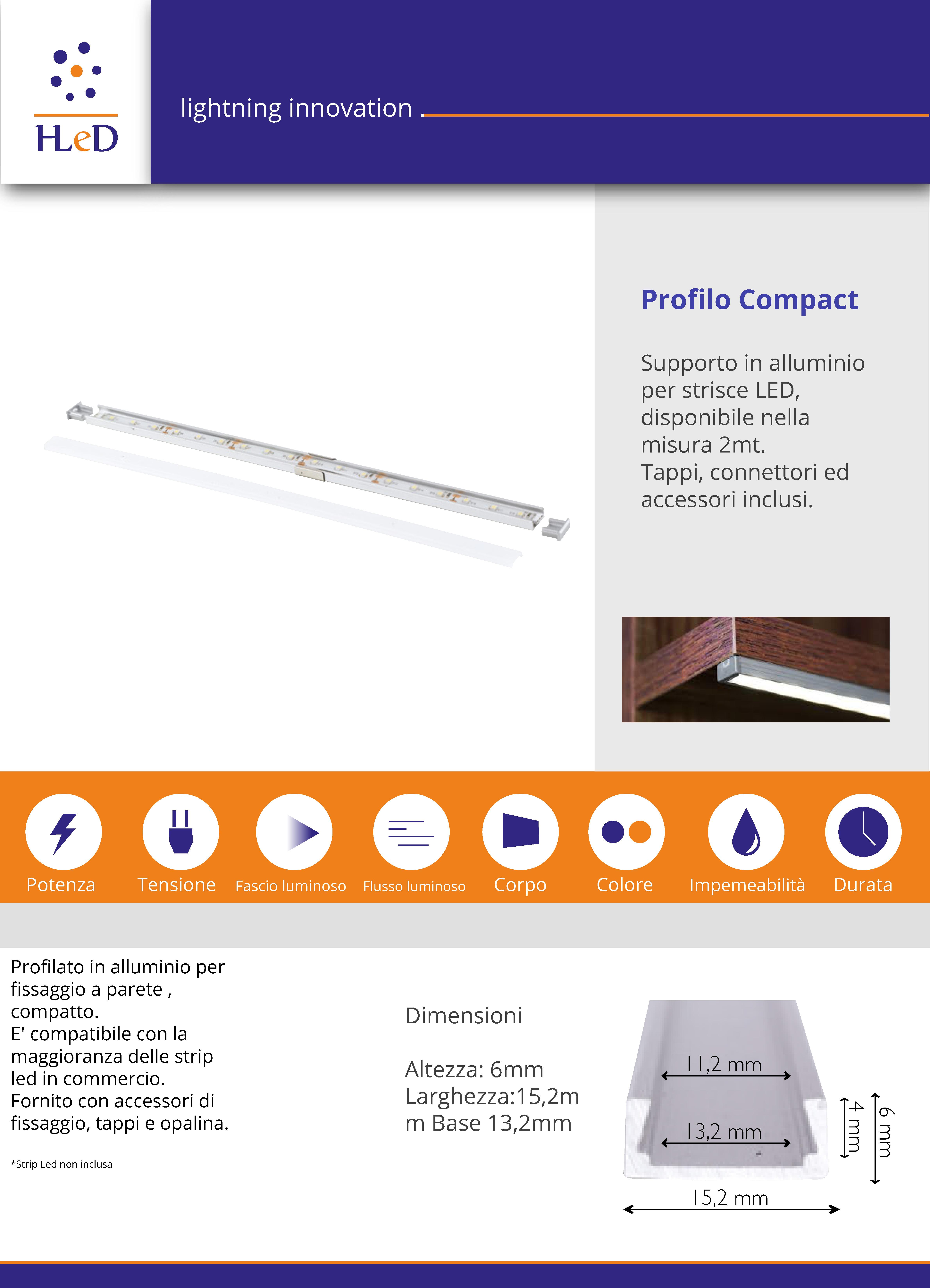 Profilo in alluminio sottile