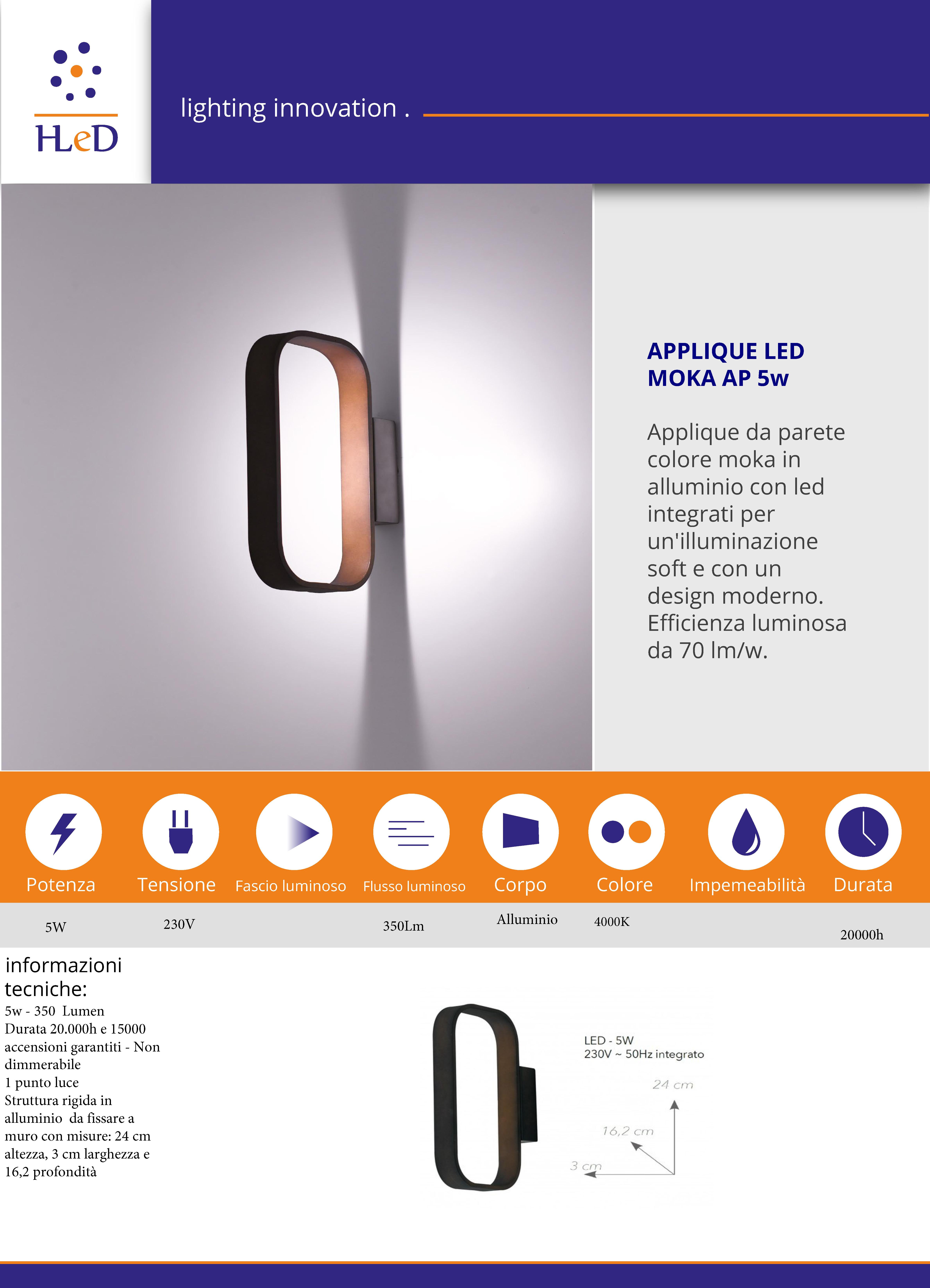 Applique da parete a LED da interni - MOKA