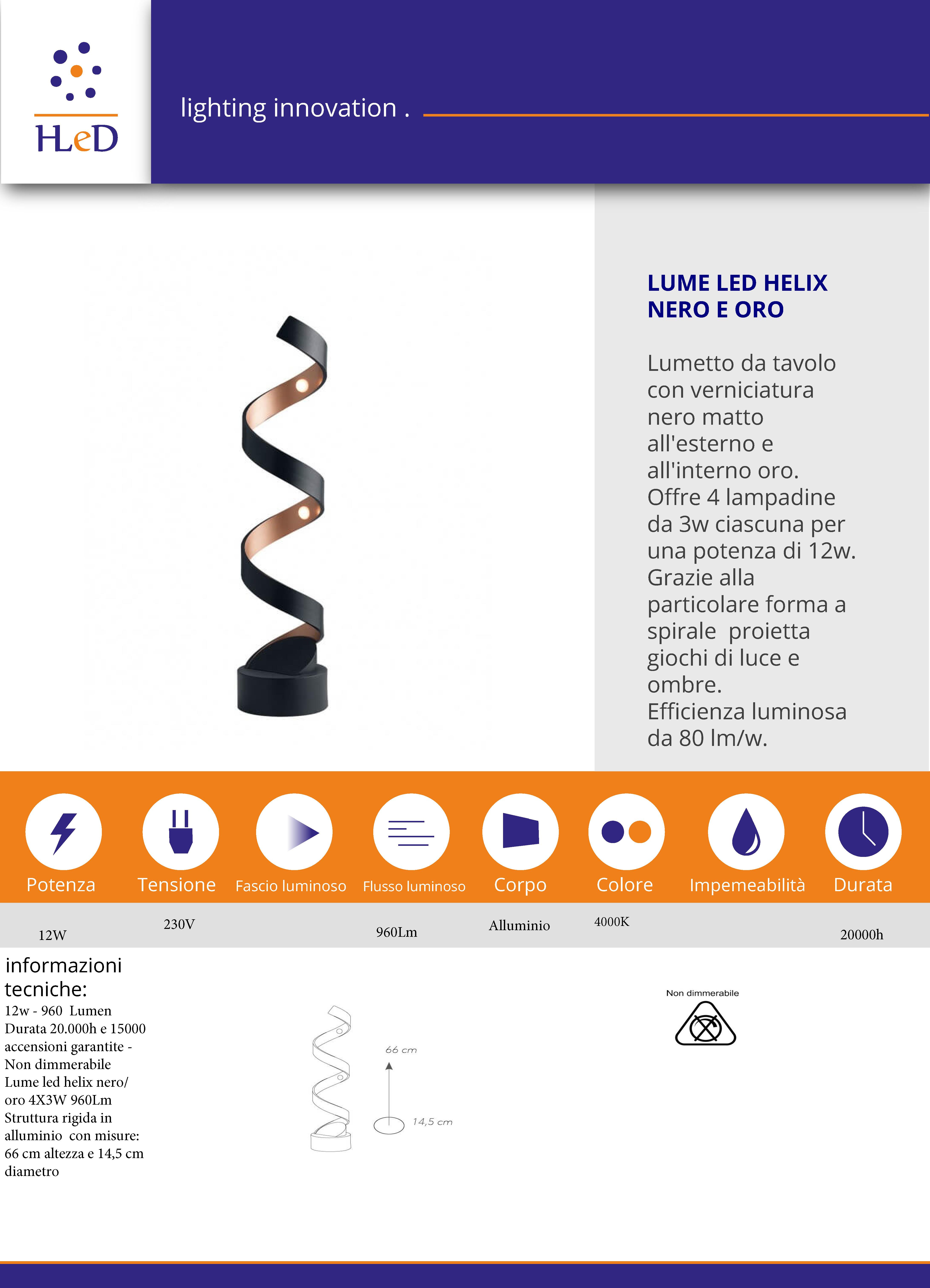 Lumetto a LED nero oro