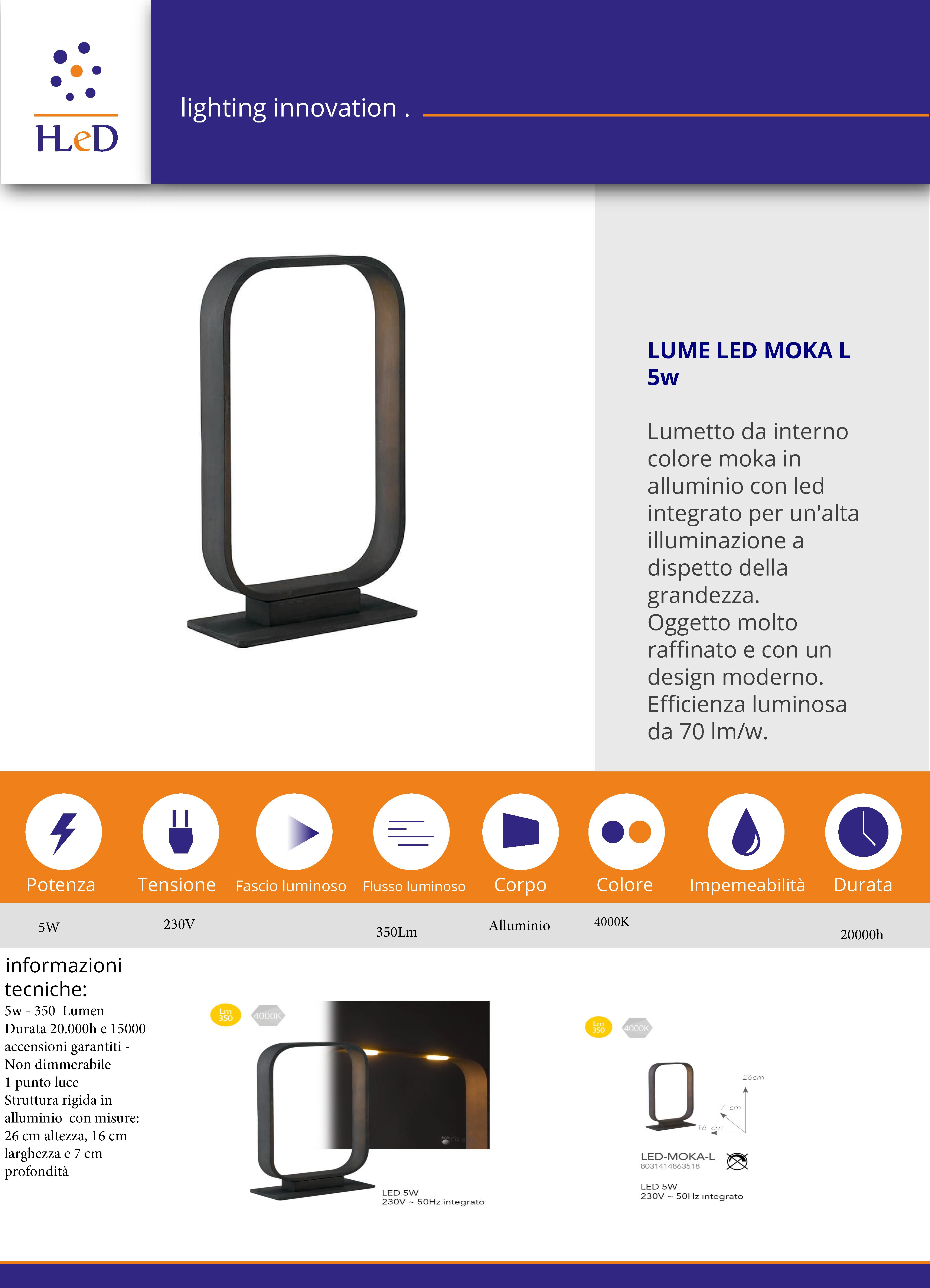 Lumetto a LED 1x5w MOKA