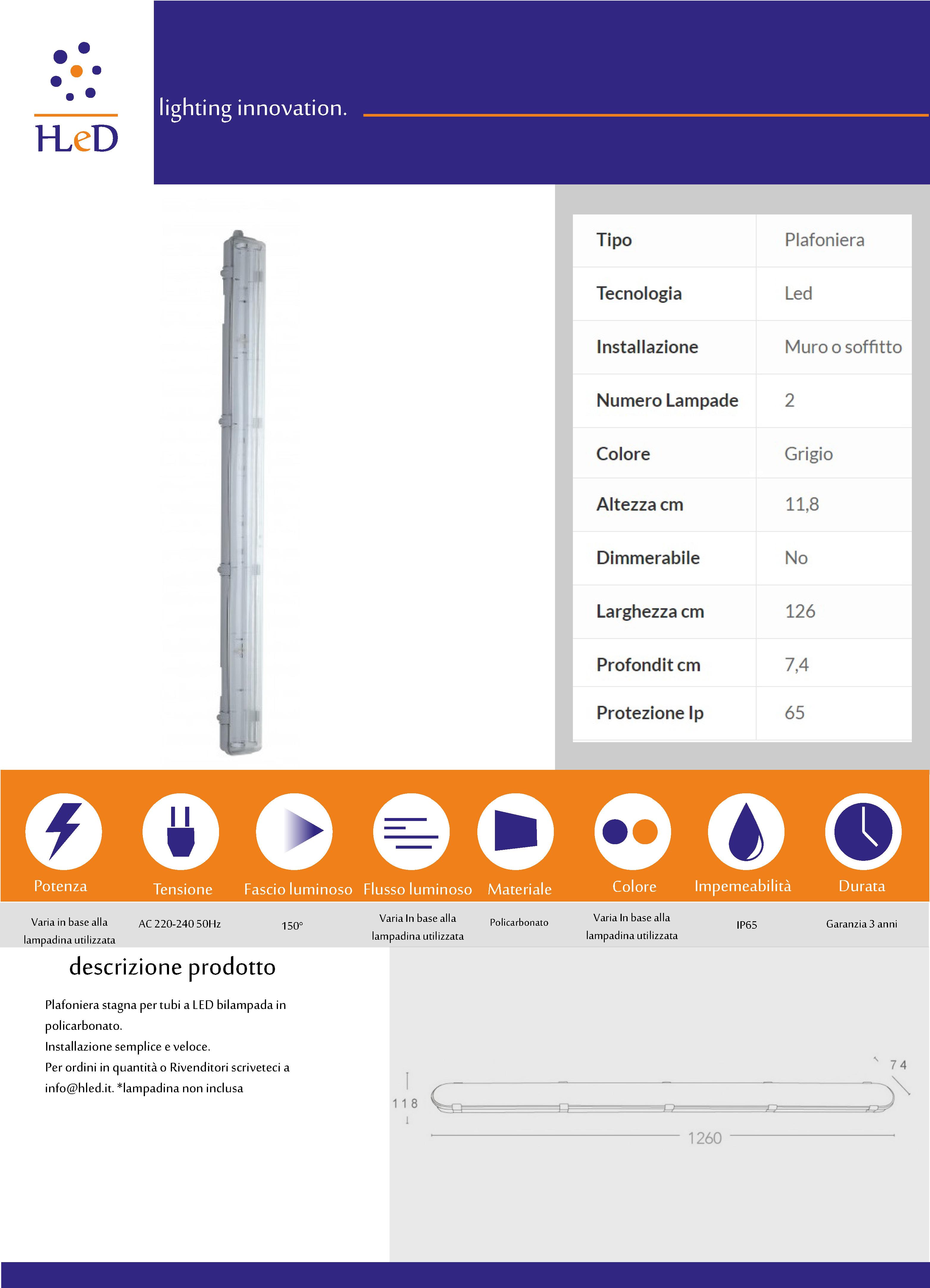 Plafoniera T8 120cm