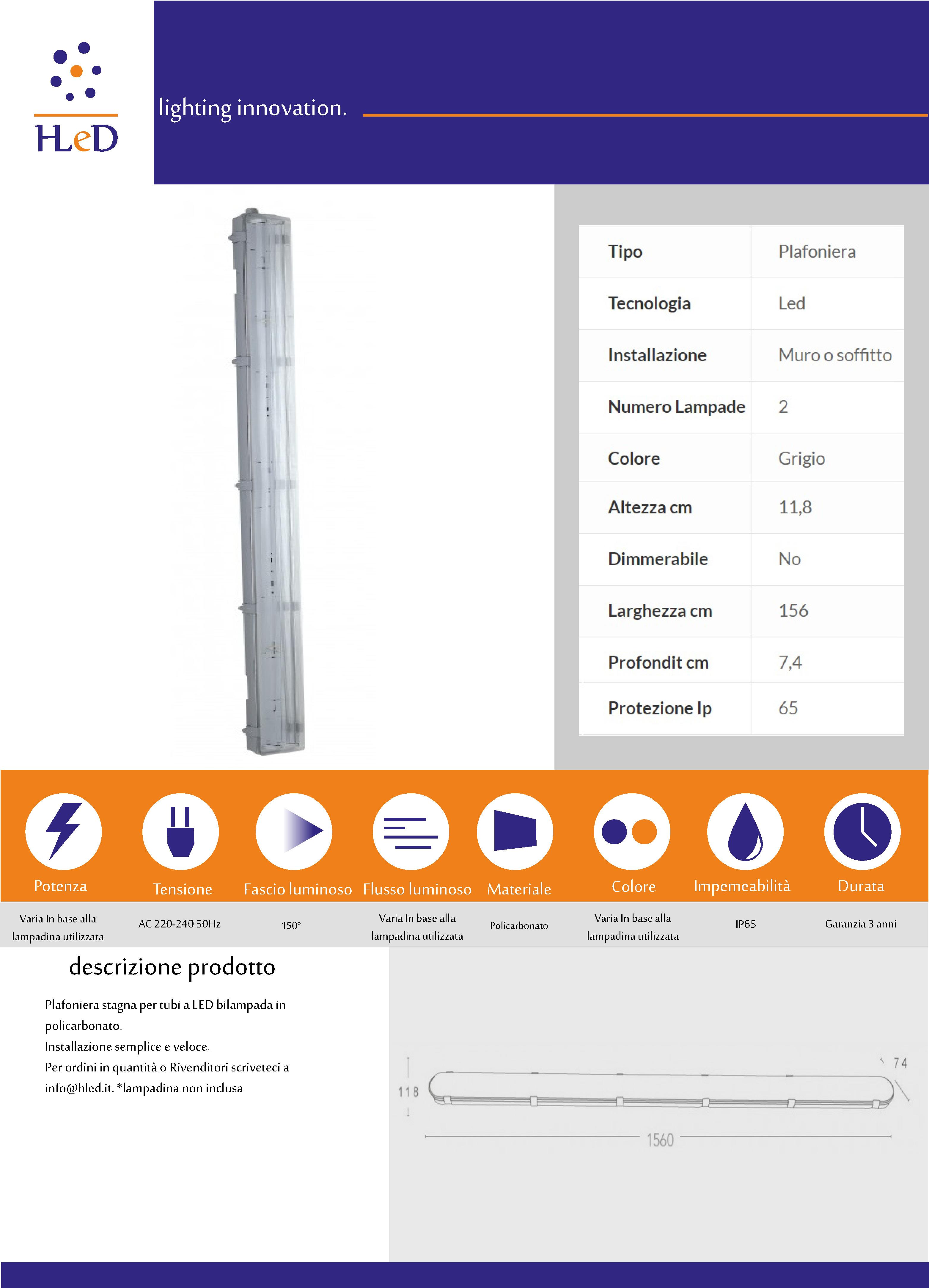 Plafoniera 150cm T8