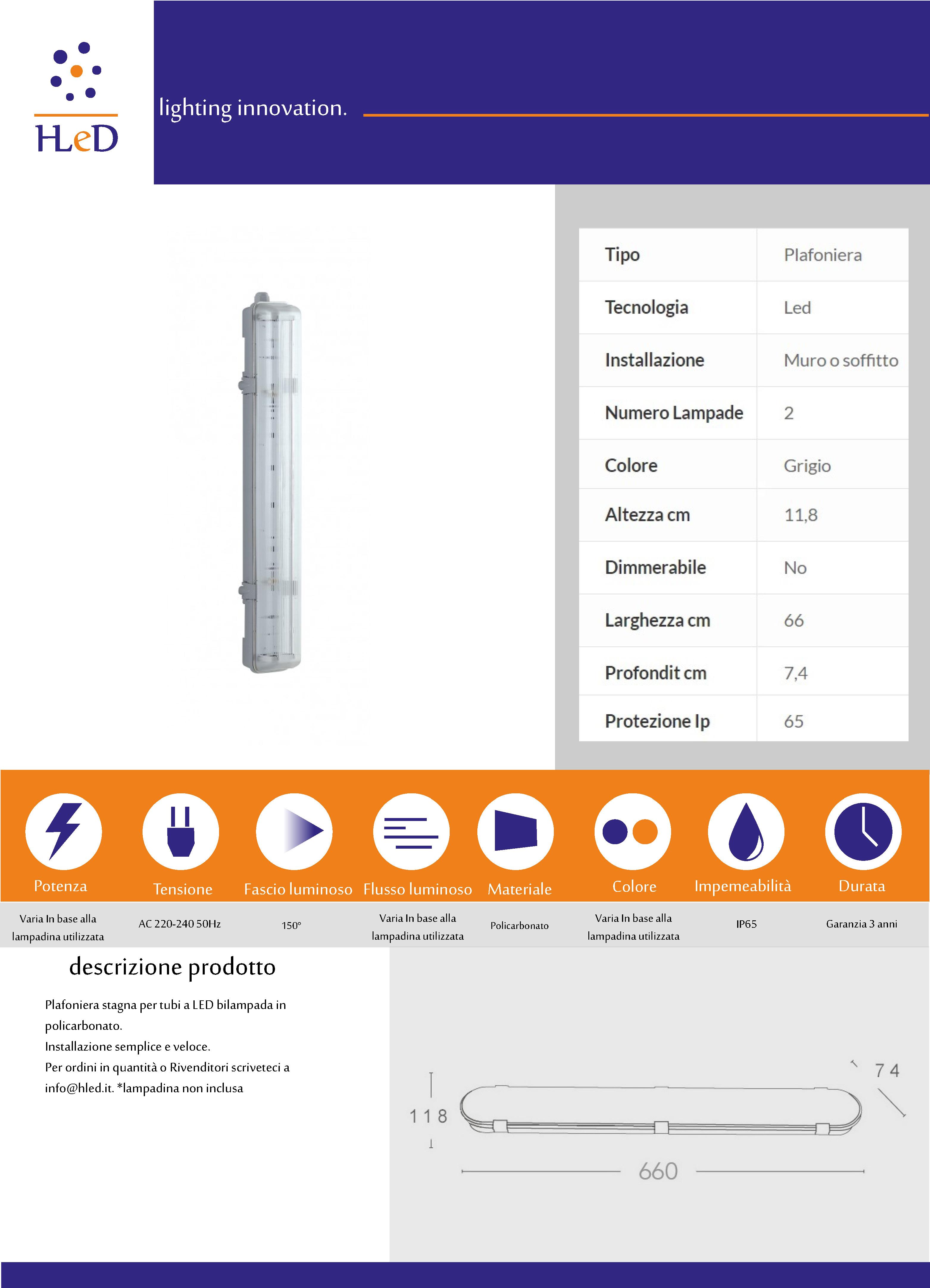 Plafoniera T8 60cm