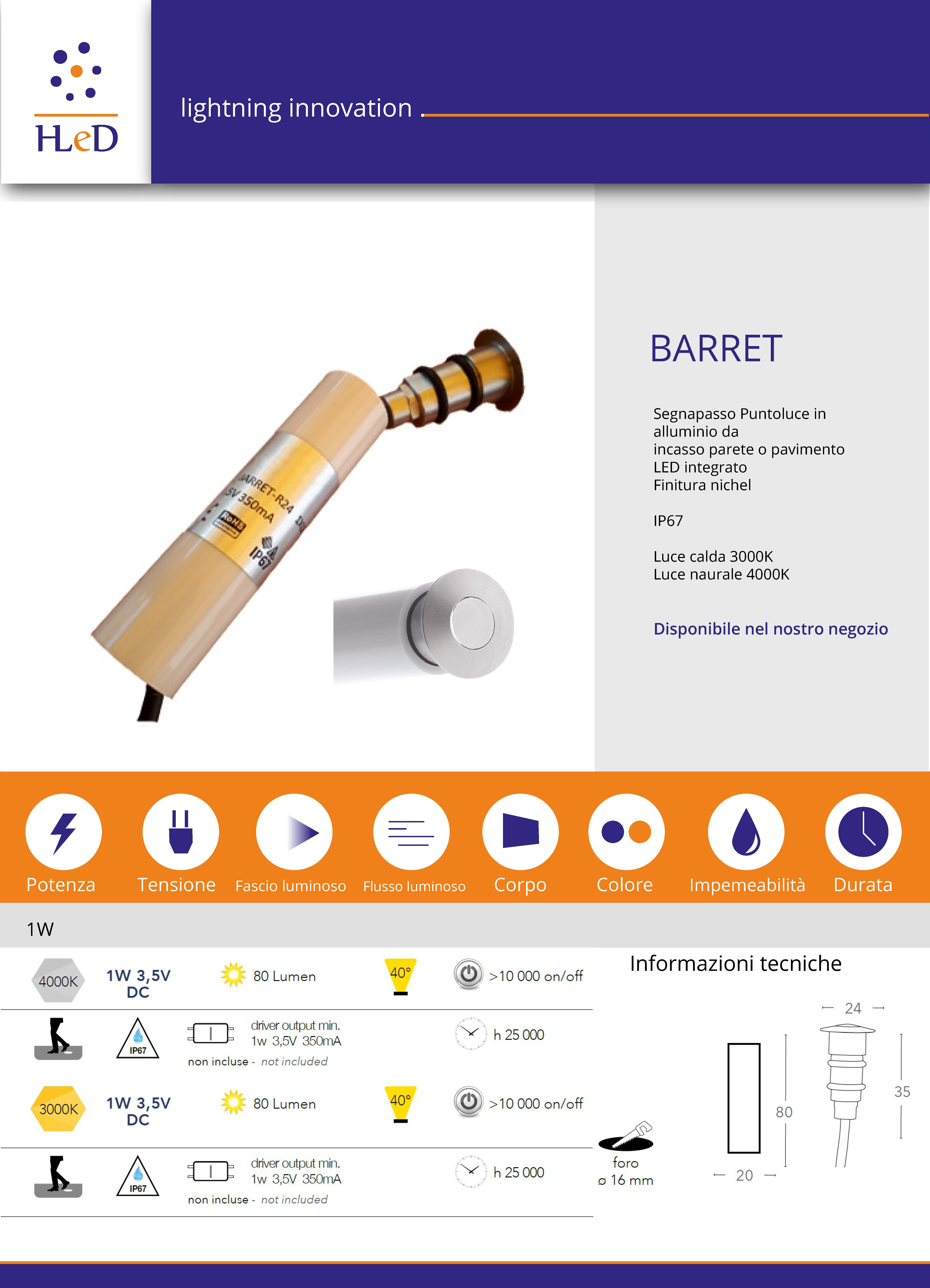 Barret r24 puntoluce incasso IP67
